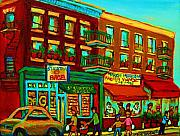 Montreal Landmarks Paintings - Family Frolic On St.viateur Street by Carole Spandau