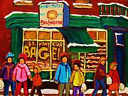 Store Fronts Painting Prints - Family  Fun At St. Viateur Bagel Print by Carole Spandau