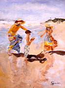 Football Paintings - Family Fun by Julie Sauer