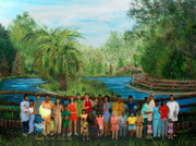 Black History Paintings - Family Gathering in Audubon by Beverly Kimble Davis
