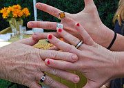 Painted Nails Posters - Family Hands Poster by Peggy Zachariou