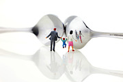 Family In Front Of Spoon Distoring Mirrors II Print by Paul Ge