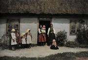 Frame House Prints - Family In Rural Poland Stands Print by Hans Hildenbrand
