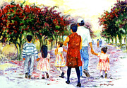 Mexican Folklore Paintings - Family Love Union familiar by Estela Robles