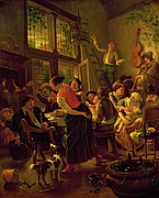 Wine Woman  Paintings - Family Meal by Jan Havicksz Steen