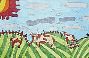 Cows Drawings Posters - Family on Green Pastures Poster by Stephanie Ward