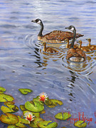 Canadian Geese Painting Posters - Family Outing Poster by Jeff Brimley