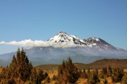 Snow Capped Mountains Posters - Family Portrait - Mount Shasta and Shastina Northern California Poster by Christine Till