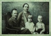 James W Johnson Drawings Prints - Family Portrait Print by James W Johnson
