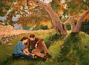 Family Love Paintings - Family Portrait Under a Tree by Alan Schwartz
