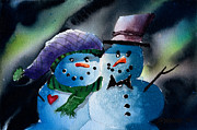 Snow Scene Mixed Media Prints - Family Print by Ray Swaluk