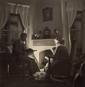 Evening Scenes Photos - Family Reads At The Fireside. 1935 by Everett