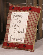Country Tapestries - Textiles Originals - Family Throw Pillow by Quaker Crafts