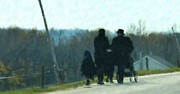 Amish People Posters - Family Time Poster by Debbi Granruth