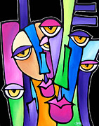Abstract Colorful Paintings - Family Time by Tom Fedro - Fidostudio