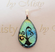 Hearts Jewelry - Family Tree - Blue Green by Misty Maynard