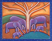 Elephants Prints - Family Tree Print by Mary Anne Nagy