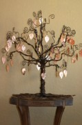 Copper Wire Sculpture Acrylic Prints - Family Tree Acrylic Print by Shawna Dockery
