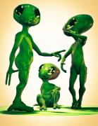 Alien Digital Art Posters - Family Vacation Poster by Bob Orsillo