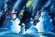 Snow Scene Mixed Media Prints - Family Warmth Print by Ray Swaluk