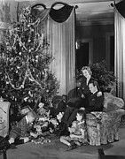 35-39 Years Prints - Family With Two Children (6-9) Sitting At Christmas Tree, (b&w) Print by George Marks