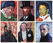 Interpretations Prints - Famous Artist Self Portraits Print by Tom Roderick