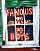 Po-po Paintings - Famous French Quarter Window Sign by Terry J Marks Sr