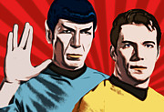 Spock Framed Prints - Famous Spock and Kirk Framed Print by Tobias Woelki
