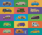Ice Cream Illustration Posters - Famous Vans Poster by Mitch Frey