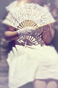 Beautiful Young Woman Prints - Fan And Lace Gloves Print by Joana Kruse