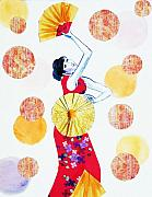 Chinese Woman Watercolor Posters - Fan Dance Poster by Angelique Buman