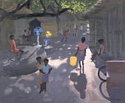Market Framed Prints - Fan Seller Framed Print by Andrew Macara