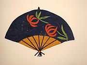 Golden Tapestries - Textiles - Fan with lilies by Maureen Wartski