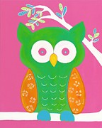 Children Print Painting Originals - Fanciful Owl by Sofia Vawter
