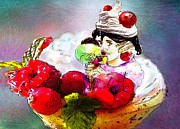 Humour Drawings Prints - Fancy an icecream with me Print by Miki De Goodaboom