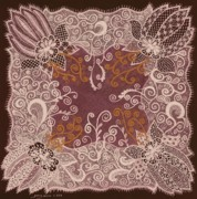 Antique Mixed Media Originals - Fancy Antique Lace Hankie by Jenny Elaine