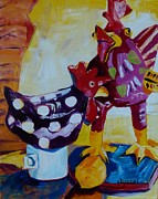 Suzanne Willis Metal Prints - Fancy Chickens Metal Print by Suzanne Willis