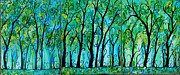 Tree Blossoms Paintings - Fancy Forest by Suzeee Creates