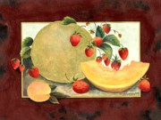 Cantaloupe Painting Prints - Fancy Fruit Print by Herb Strobino