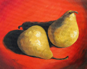 Bosc Framed Prints - Fancy Pears on Red  Framed Print by Torrie Smiley