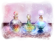 Fragrance Painting Prints - Fancy Perfume Bottles Print by Arline Wagner