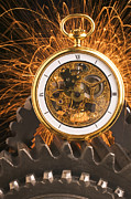 Gears Photos - Fancy Pocketwatch On Gears by Garry Gay