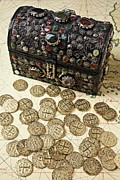 Coin Photo Prints - Fancy Treasure Chest  Print by Garry Gay