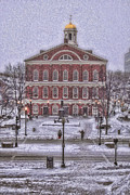 Christmas Cards Framed Prints - Faneuil Hall Snow Framed Print by Joann Vitali