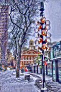 Faneuil Hall Posters - Faneuil Hall Winter Poster by Joann Vitali