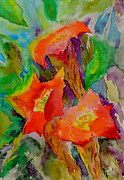 Blue Trumpet Flower Prints - Fanfare Print by Beverley Harper Tinsley