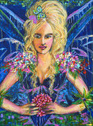 Blooms  Butterflies Painting Framed Prints - Fantashia Fae Framed Print by Kimberly Van Rossum