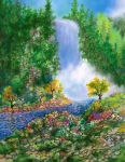 Waterfall Drawings Prints - Fantasia Falls Print by William Vanya