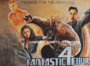 Jessica Alba Drawings Originals - Fantastic Four  by Sandeep Kumar Sahota