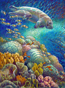 More Paintings - Fantastic Journey I - Manatees by Nancy Tilles